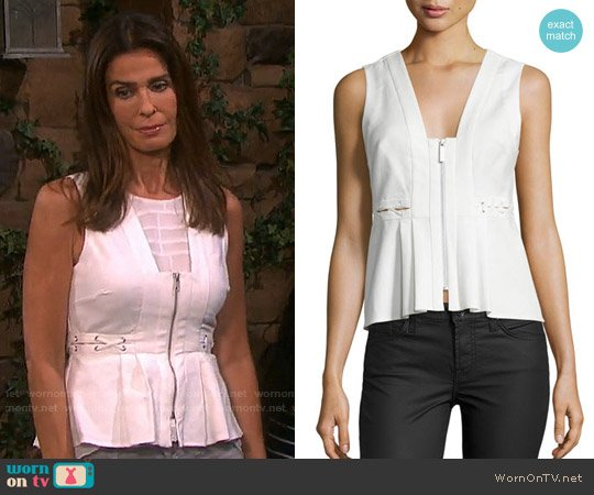 Kendall + Kylie Front-Zip Sleeveless Peplum Top worn by Kristian Alfonso on Days of our Lives