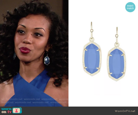Kendra Scott Dani Earrings in Periwinkle worn by Hilary Curtis on The Young & the Restless