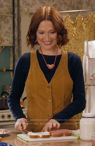 Kimmy's mustard button front corduroy dress on Unbreakable Kimmy Schmidt