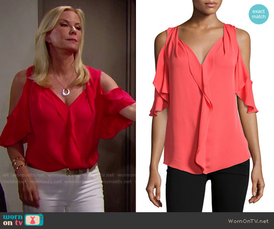 Kobi Halperin Rochelle Top worn by Brooke Logan (Katherine Kelly Lang) on The Bold & the Beautiful