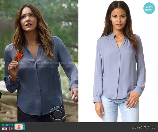 L'Agence Bianca Blouse in Blue Fog worn by Katharine McPhee on Scorpion