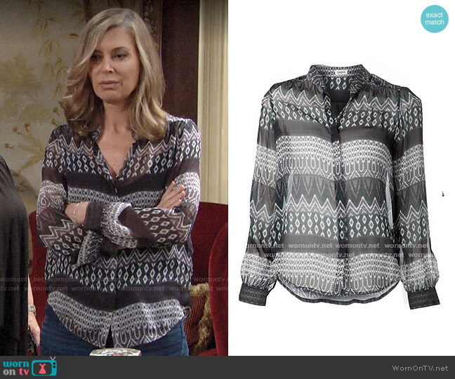 L'Agence Printed Blouse worn by Ashley Abbott (Eileen Davidson) on The Young & the Restless