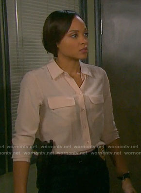 Lani's beige button down blouse on Days of our Lives