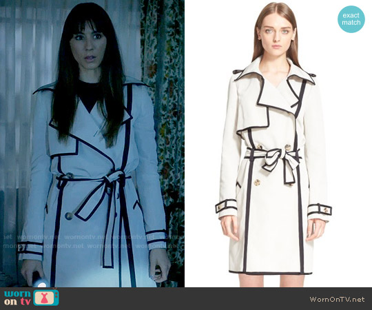 Lanvin Contrast Trim Trench Coat worn by Spencer Hastings (Troian Bellisario) on PLL