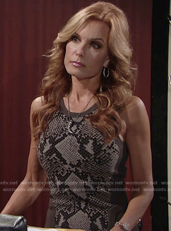 Lauren's grey snake print dress on The Young and the Restless