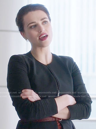 Lena's black zip front peplum jacket on Supergirl