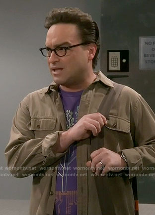 Leonard's purple tree graphic tee on The Big Bang Theory