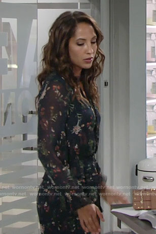 Lily's navy floral romper on The Young and the Restless