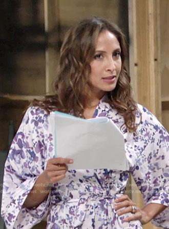 Lily's purple floral robe on The Young and the Restless