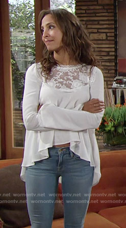 Lily's white lace high-low top on The Young and the Restless