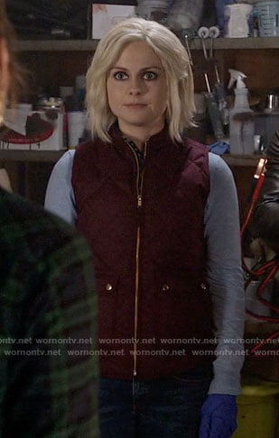 Liv's burgundy quilted vest on iZombie