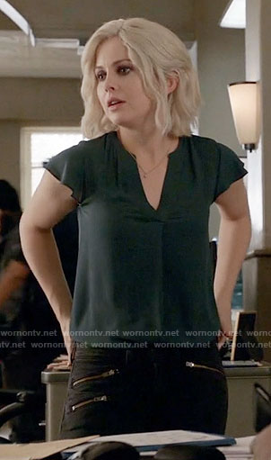Liv's dark green v-neck top on iZombie