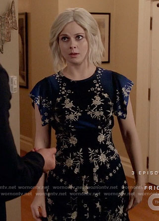 Liv's black and blue floral and star print dress on iZombie