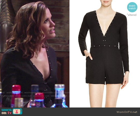 Lucy Paris Studded Deep V Romper worn by Melissa Claire Egan on The Young & the Restless