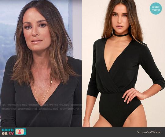 Lulus Striking Looks Washed Black Long Sleeve Bodysuit worn by Catt Sadler on E! News
