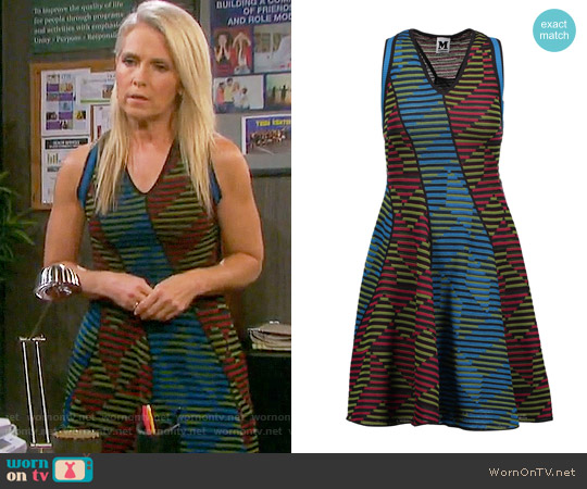 M Missoni Paneled crocheted wool-blend mini dress worn by Melissa Reeves on Days of our Lives