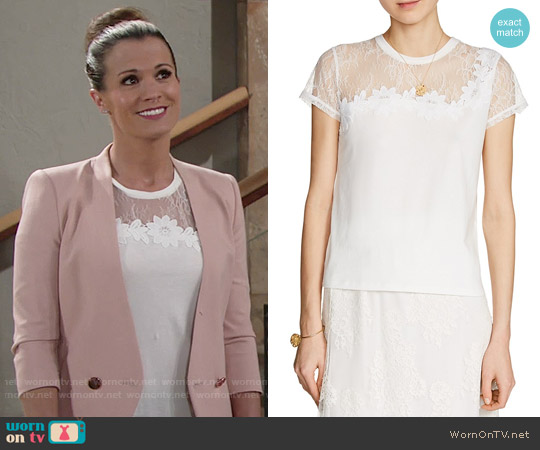 Maje Tradition Lace-Trimmed Tee worn by Chelsea Lawson (Melissa Claire Egan) on The Young & the Restless