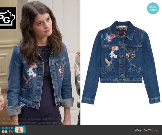 Maje Vivo Embroidered Denim Jacket worn by Sofia Black D'Elia on The Mick