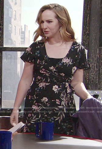 Mariah's black floral wrap dress on The Young and the Restless