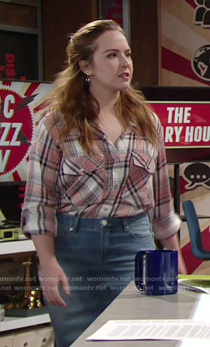 Mariah's plaid shirt and denim skirt on The Young and the Restless