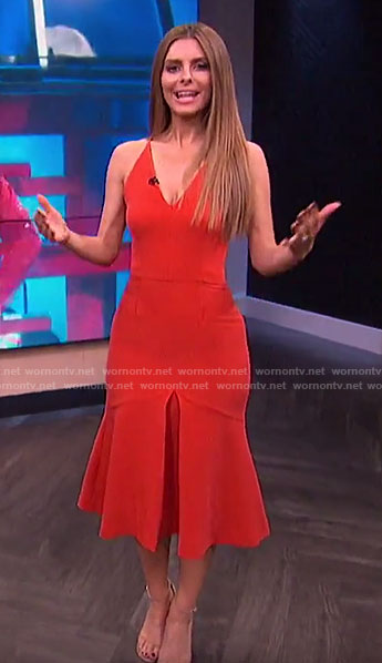 Maria's red front pleat midi dress on E! News