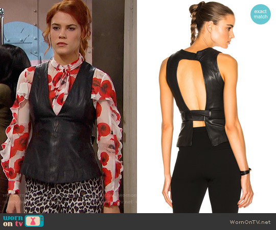 Marissa Webb Sue Leather Top worn by Sally Spectra on The Bold & the Beautiful