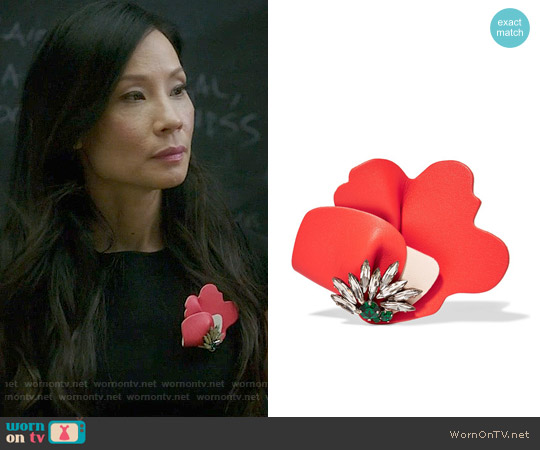 Marni Leather and crystal brooch worn by Lucy Liu on Elementary