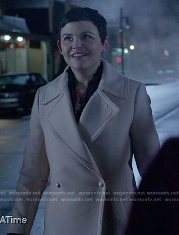 Mary's light pink double breasted coat on Once Upon a Time