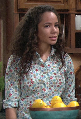 Mattie's floral shirt on The Young and the Restless