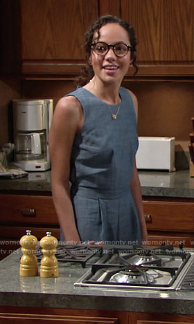 Mattie's chambray jumpsuit on The Young and the Restless