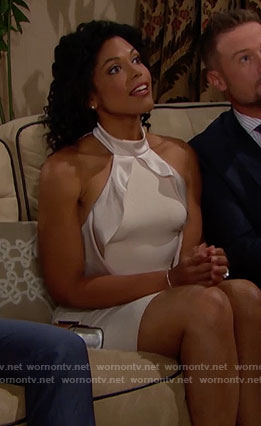 Maya's champagne ruffled dress on The Bold and the Beautiful