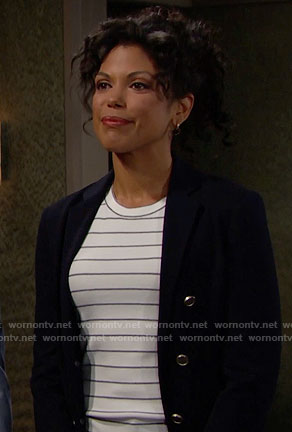 Maya's striped top and blazer on The Bold and the Beautiful