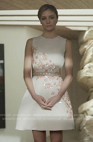 Megan's floral embellished dress on The Arrangement