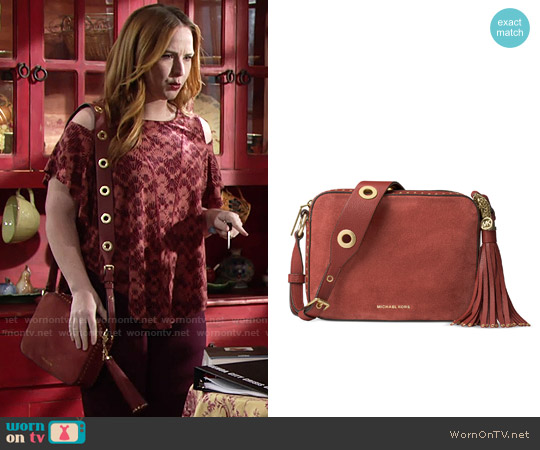 MICHAEL Michael Kors Brooklyn Suede Large Camera Bag worn by Mariah Copeland on The Young & the Restless