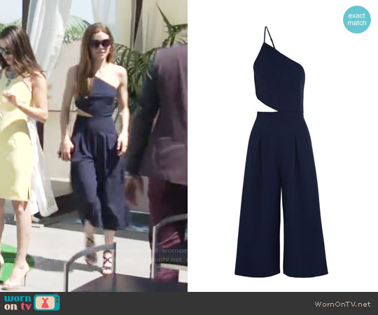 Michelle Mason One-shoulder cutout stretch-crepe jumpsuit worn by Amelia Heinle on The Young & the Restless