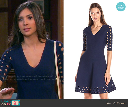 Milly Diamond Pointelle Flare Dress worn by Camila Banus on Days of our Lives