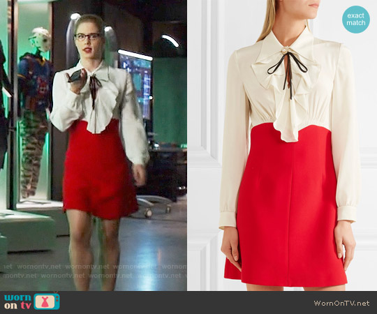 Miu Miu Ruffled silk crepe de chine mini dress worn by Emily Bett Rickards on Arrow