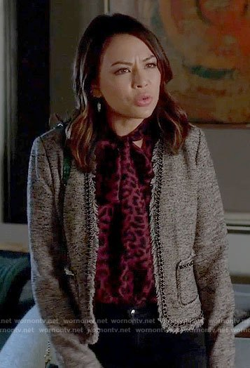 Mona's purple leopard print blouse and tweed jacket on Pretty Little Liars