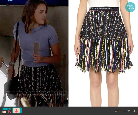 MSGM Tweed Fringe Skirt worn by Georgie Flores on Famous in Love
