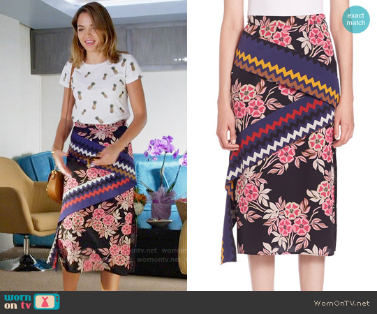 MSGM  Floral Chevron Midi Skirt worn by Cassandra on Famous in Love