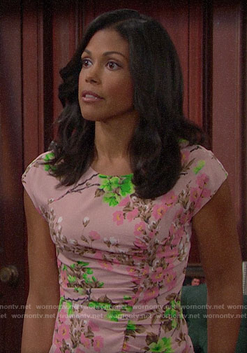 Maya's pink blossom print dress on The Bold and the Beautiful