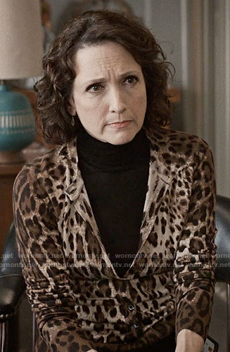 Nadine's leopard print cardigan on Madam Secretary