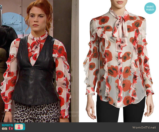 Nicholas Poppy Floral Blouse worn by Sally Spectra (Courtney Hope) on The Bold & the Beautiful