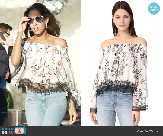 Nicholas Iris Floral Off Shoulder Blouse worn by Lily Winters (Christel Khalil) on The Young & the Restless