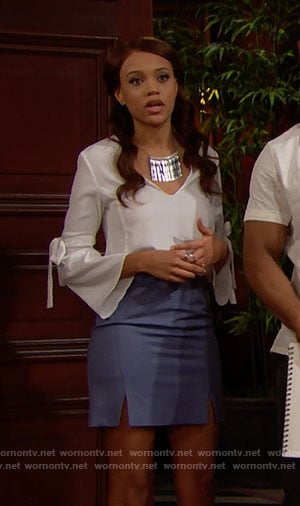 Nicole's white tie-sleeve top and blue skirt with slits on The Bold and the Beautiful