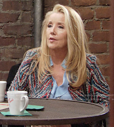 Nikki's textured zig-zag jacket on The Young and the Restless