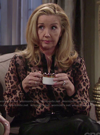 Nikki's leopard print blouse with lace panel on The Young and the Restless