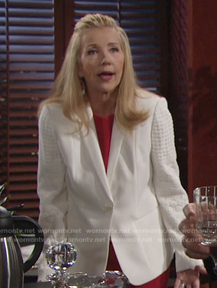 Nikki's white blazer with lace sleeves on The Young and the Restless