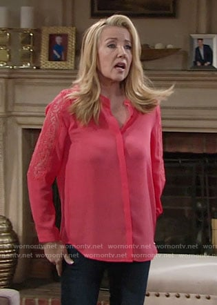Nikki's coral lace sleeve blouse on The Young and the Restless