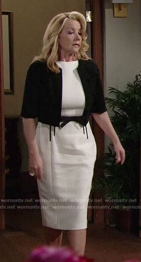 Nikki's white dress with black bow belt on The Young and the Restless
